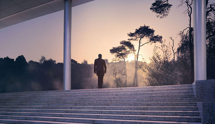 man climbing stairs looking out onto misty morning forest